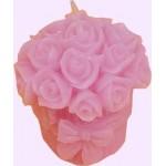 Virágcsokor  gyertya rózsaszín 2304